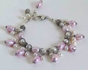 Sterling Silver, Pink and White Freshwater Pearl Cha-Cha Bracelet