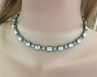 "Vintage 60's  RHINESTONE CHOKER  NECKLACE"" in a Silver Toned - A Sparkle Plenty Rhinestone Necklace"