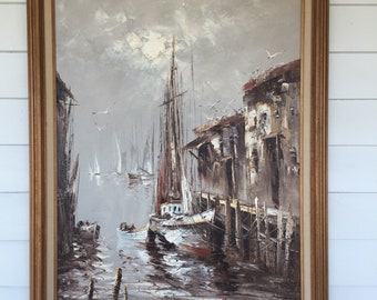 Vintage Nautical Painting of Sailboat at Dock Signed By Artist