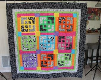 Fun and Bright Geometric Patchwork Throw Size Quilt Top