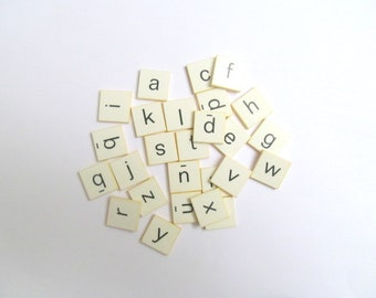 Vintage letter tiles: alphabet pack of 26 black and white plastic game pieces. Craft supply for altered art, mixed media, collage OT666