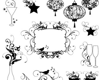 New Years Clip Art Clipart, New Years Silhouettes Clip Art Clipart - Commercial and Personal