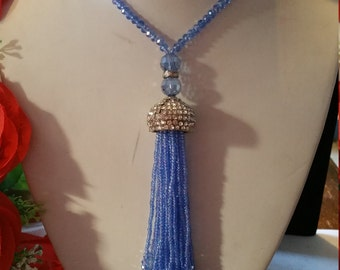Beautiful turkish periwinkle blue Austrian crystal necklace with a long seed bead tassel so pretty!