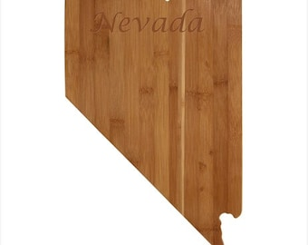 Personalized Nevada Cutting Board - Nevada Shaped Bamboo Cutting Board Custom Engraved - Wedding Gift, Couples Gift, Housewarming Gift