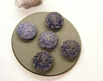 """Antique Edwardian Metal Buttons, Set of 5, FLOWERS, Purple Tinted, 11/16"""", ANIMAL CHARITY Donation"""