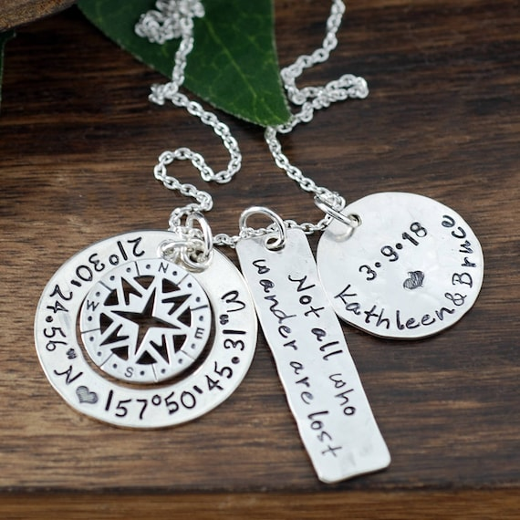 Anniversary Necklace for her, Coordinates Necklace, Compass Necklace, Compass Jewelry, Latitude Longitude Necklace, Not all who wander