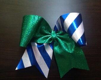 Green. Blue & Silver Cheer Bow