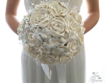 Bridal Jewel bouquet, rose and hydrangea bouquet, brooch bouquet, bridal bouquet
