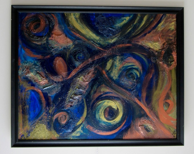 """Framed Mixed Media Abstract Painting """"In the Eye of the Beholder"""""""