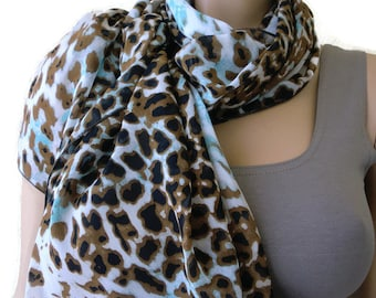 Brown and aqua blue leopard long chiffon scarf -Parisian Neck Tissu Long chiffon scarf