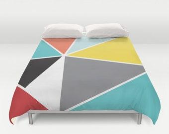 Geometric Duvet Cover - Triangles Duvet Cover - Mid Century Modern Duvet - Blue Yellow Gray Red Black - Full Queen King Size - Aldari Home