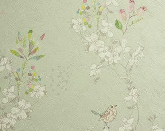 Vintage Birds Wallpaper, Birds Wall Mural, Japanese Wallpaper, Floral Wallpaper, Textured Wallpaper, Nursery Wall Decor, Bedroom Wallpaper