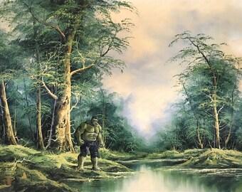 Hulk Parody  - Repurposed Thrift Art - Print, Poster, or Canvas - Funny Superhero Comic Painting Surrealist Pop Culture Green Giant Artwork