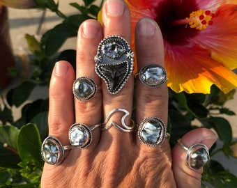 Tahitian Pearl Ring, Sterling Silver Pearl Ring, Keshi Pearl Ring, Gift For Her, Beach Jewelry, Mermaid Ring, Ocean Inspired