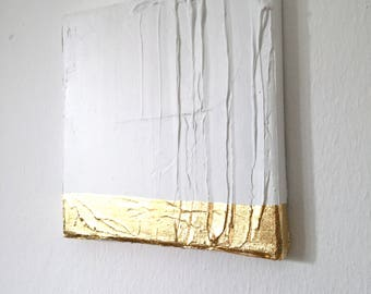 Modern contemporary gold white painting on canvas G16