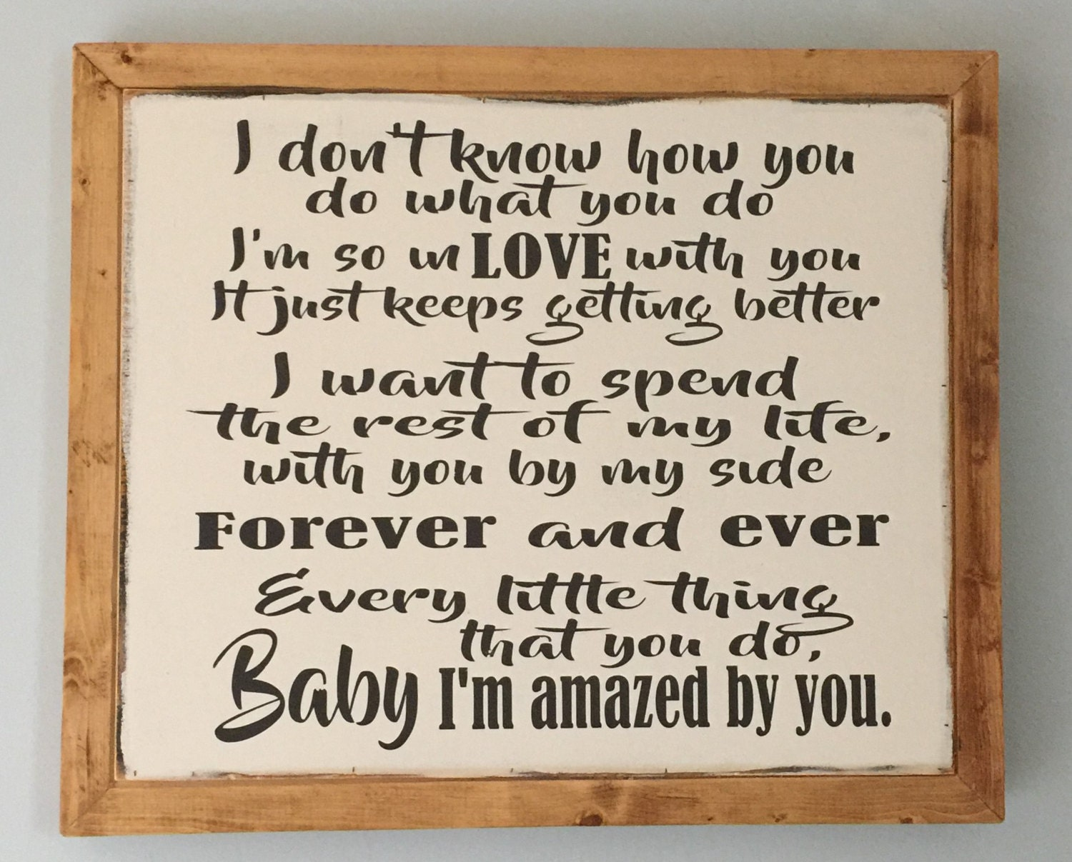 Wedding song sign, Amazed by you, Song lyric sign, Anniversary or ...