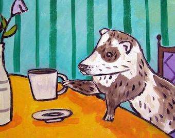 Ferret at the Cafe Art Tile Coaster