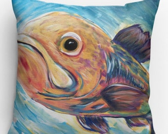Decorative fish print pillow