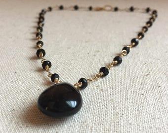 Black onyx gemstone gold necklace