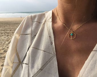 Gold Hexagon and Turquoise Enameled Necklace with Rock Crystal - Layering Necklace - Minimalist and Dainty Necklace - Boho Jewelry