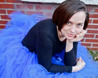 Smoke Blue Tulle Skirt - Blue Tutu Skirt - Full layered Teen, Womens Tulle skirt - Made to order - Brides, Bridesmaids, Wedding, Photo Prop
