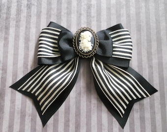 skeleton girl day of the dead cameo on a stripe bow