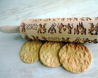 Disney Embossing Rolling Pin. Mickey Mouse. Pluto dog. Fairy Tale. Volt Disney. Laser engraved embossing rolling pin. Hollywood animation
