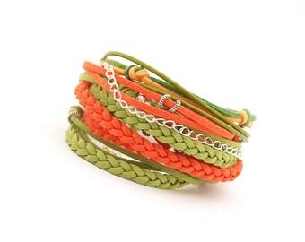 Green Orange Wrap bracelet, Boho bracelet, vegan bracelet, bohemian jewelry, summer colors bracelet, beach jewelry, gift for friends