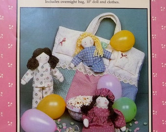 "Vintage 10"" Doll, Nightie Clothes and Overnight Bag, Slumber Party Sewing Pattern by Jenny Wren 1980s UNCUT"