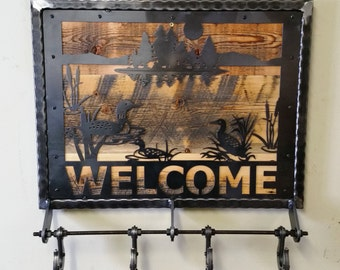 "Industrial Metal and Reclaimed Barn Wood ""WELCOME"" Coat Rack with Duck Pond Scene and Four Riveted Coat Hooks"