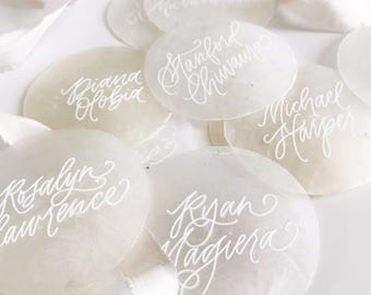 Capiz Shell Place Cards  - Hand Lettered - Hawaii Calligraphy