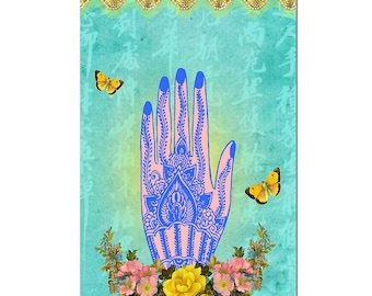 Hand of Hamsa Magnet Art - Uplifting and Inspiring Magnet Refrigerator - Office Decor - Gift - Yoga Lover