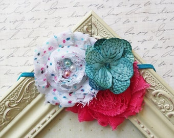 Teal and Hot Pink Chiffon Flower headband, baby flower headbands, hot pink headbands, newborn headbands, photography prop