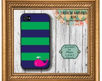 Preppy Whale iPhone Case, Summer iPhone Case, Nautical iPhone Case, iPhone X, iPhone 8, 8 Plus, iPhone 7, 7 Plus, SE, iPhone 6, 6s, 6 Plus
