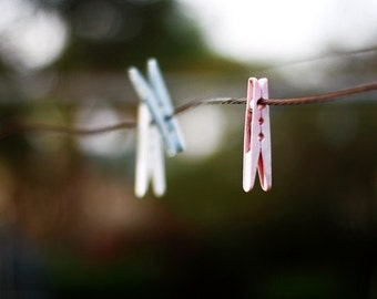 Unique Washing Line Photography, Peg Photo, Hills Hoist with Pegs, Aussie Icon, Clothes Line with Pegs, Pink Pegs, Blue pegs, White Pegs