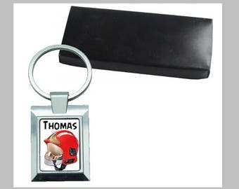 Metal Keychain, name and design choice with its gift box, firefighter, driver, farmer