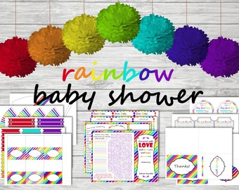 INSTANT DOWNLOAD rainbow baby shower (Girl) games, editable food table, decorations, centerpieces, favor tags, (after loss) printable kit