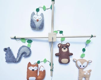 Baby Mobile / Woodland Mobile / Forest Animal Mobile / Felt Mobile / Forest Creatures Mobile / Fox Baby Mobile / Woodland Creatures Mobile
