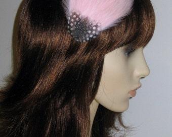 Light Pale Pink Feather Fascinator HAIR CLIP Bridesmaids Hair Accessory Handmade Wedding 'Gwen'