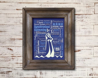 Synchronized Swimming / Word Art Typography / Home Decor / Unique Coach Gift / Sports / Girl's Room / Synchro Swimming Pool