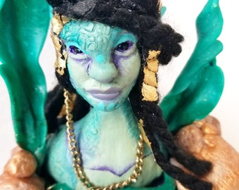 D20 roleplay Polymer clay creature sculpture mermaid sea guardian