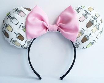 Coffee Ears, Frappuccino Ears,  Starbucks Mouse Ears, Frappuccino Mouse Ears, Coffee Mouse Ears, Minnie Ears, Disney Ears Coffee Minnie Ears
