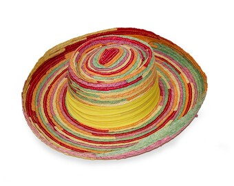 Wide Brim Hat, Multicolor Straw Hat, Boho, Whittall Shon, Sun Hat, Summer, Beach, Women Hats Vintage, Hat Size 21.5
