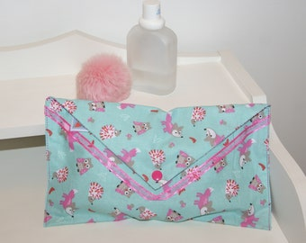 diaper wipes, jewelry, Fox, hedgehog, and snap pouch lined