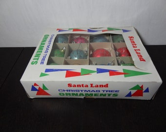 Vintage Santa Land Set of 12 Multi-Colored Mercury Glass and Glitter Christmas Ornaments in Original Box