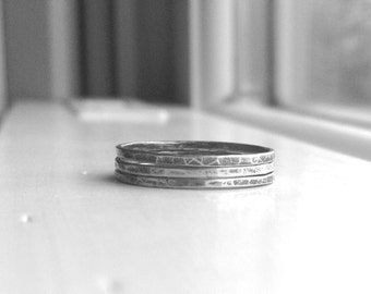 Three Stacking Rings, Sterling Silver Stacking Rings, Thin Ring Bands, Super Skinny Triple Stack, Oxidized Stacking Rings, Three Black Rings