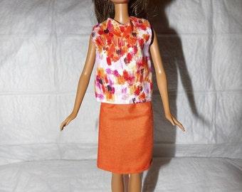 Orange brush print sleeveless top & solid orange skirt for Fashion Dolls - ed894