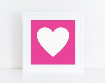 5x5 PRINTABLE | Heart Art Print | Hot Pink