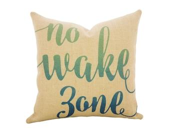 No Wake Zone Throw Pillow, Burlap Nautical Pillow