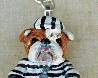 Folk Art Surreal  English Bull Dog Jail Bird Black White Pendant Jewelry or KeyChain Bulldog Charm